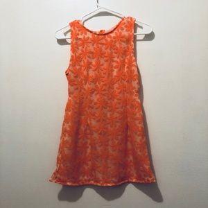 Pink orange cutout dress flower salmon mini